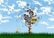 Fantasy Tree Art Mixed Media Prints - Burger Tree House And The Cupcake Kids  Print by Andee Photography