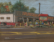 Business Pastels Framed Prints - Burgers Framed Print by Donald Maier