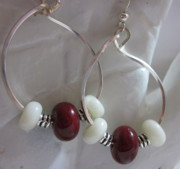 Abstract Jewelry - Burgundy and White Hoop Earrings by Janet  Telander