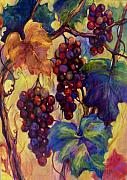 Blue Grapes Painting Posters - Burgundy Grapes Poster by Peggy Wilson
