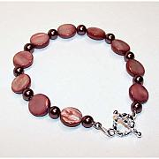 Handcrafted Jewelry - Burgundy Rose Pearl Bracelet by Kelly DuPrat