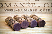 Wines. Red Wine Prints - Burgundy Wine Corks Print by Frank Tschakert