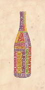Cocktails Posters - Burgundy Wine Word Bottle Poster by Mitch Frey