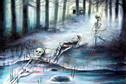 Creepy Paintings - Buried in the Woods by Heather Calderon