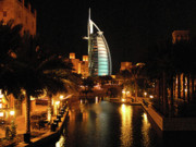 Printing Acrylic Prints - Burj Al Arab by Night Acrylic Print by Graham Taylor