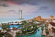 Tropical Destinations Prints - Burj al Arab Hotel and Madinat Jumeirah Resort Print by Jeremy Woodhouse