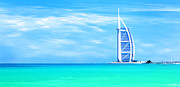 Arab Photo Framed Prints - Burj Al Arab hotel on Jumeirah beach in Dubai Framed Print by Anna Omelchenko