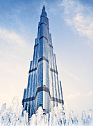 Blue Glass World Prints - Burj Khalifa building  Print by Anna Omelchenko