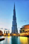 Fountain Photo Prints - Burj Khalifa Sunset Print by Shawn Everhart