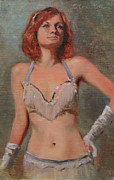Burlesque Painting Metal Prints - Burlesque Dancer Metal Print by Anna Bain