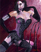 Alluring Painting Originals - Burlesque Icon Dita Von Teese by Steve Manton