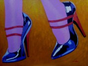 Burlesque Painting Metal Prints - Burlesque Shoes Metal Print by John  Nolan