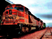 Train Digital Art Posters - Burlington Northern Santa Fe BNSF Locomotive Train at the Station 2 Poster by Wingsdomain Art and Photography