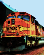 Train Digital Art Posters - Burlington Northern Santa Fe BNSF Locomotive Train at the Station Poster by Wingsdomain Art and Photography