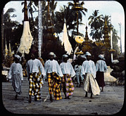 Slide Prints - Burma, Men Walking On Street, Hand Print by Everett