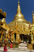 Rangoon Prints - Burmas Golden Pagoda Print by Michele Burgess