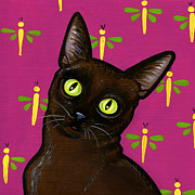 Cats Eyes Framed Prints - Burmese Best Framed Print by Leanne Wilkes