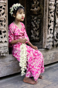 Rangoon Prints - Burmese Flower Vendor Print by Michele Burgess