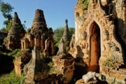 Historic Ruins Photos - Burmese Pagodas in Ruins by Michele Burgess
