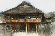 Bamboo House Digital Art Posters - Burmese village house 1 Poster by Fran Woods