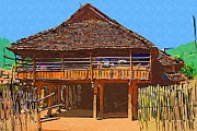 Bamboo House Digital Art Posters - Burmese village house Poster by Fran Woods