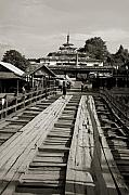 Burma Posters - Burmese wooden bridge Poster by Jessica Rose