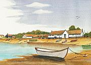 Harbour Mixed Media Prints - Burnham Overy Staithe Norfolk Print by David Bishop