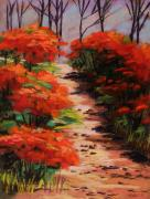 Red Leaves Pastels - Burning Bush Along the Lane by John  Williams
