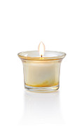 Isolated On White Framed Prints - Burning Candle Framed Print by Atiketta Sangasaeng