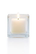 Isolated On White Framed Prints - Burning Candle Front View  Framed Print by Atiketta Sangasaeng