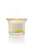 Isolated On White Framed Prints - Burning Candle In Glass Holder Framed Print by Atiketta Sangasaeng