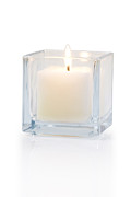 Glass Photo Originals - Burning Candle Side View 20 Degree by Atiketta Sangasaeng
