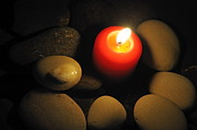 Spirituality Metal Prints - Burning candle with pebbles in water Metal Print by Sami Sarkis
