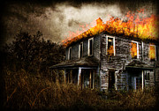 House Digital Art Originals - Burning House by Ryan Shaffer