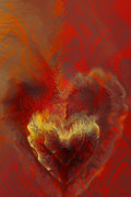 Hearts Digital Art - Burning Love by Linda Sannuti