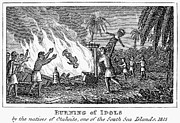 Islander Framed Prints - Burning Of Idols, 1815 Framed Print by Granger