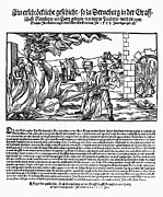 Discrimination Prints - Burning Of Witches, 1555 Print by Granger