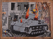 Lego Prints - Burning Panzer IV Print by Josh Bernstein
