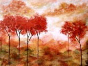 Trees Paintings - Burning Promise  by Itaya Lightbourne