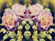 Realism Mixed Media Posters - Burning Retro Roses Poster by Zeana Romanovna
