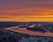 Grave Site Posters - Burning Sky At Peace River Poster by Royce Howland