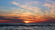 York Beach Framed Prints - Burning Sky Framed Print by Peter Chilelli