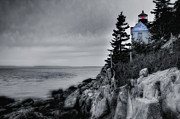 Maine Lighthouse Posters - Burning the Midnight Oil - Bass Harbor Poster by Thomas Schoeller