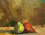 Fruit Still Life Reliefs Posters - Burnished Pears Poster by Ruth Stromswold