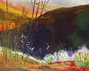 Yellow Drawings Originals - Burnished Sky by John  Williams