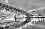 Willamette Prints - Burnside Bridge Portland Oregon at Night Print by Dustin K Ryan