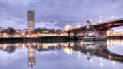 City Lights Photos - Burnside Bridge Waterfront Portland Oregon by Dustin K Ryan