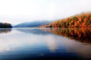 Fog Rising Posters - Burnsville Lake Morning Poster by Thomas R Fletcher