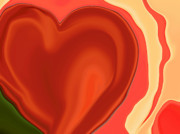 Abstract Hearts Digital Art - Burnt Orange Molten Heart by Linnea Tober