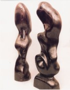 Natural Art Sculpture Framed Prints - Burnt Sculptures Pair Framed Print by Lionel Larkin